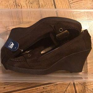 Penny loafer wedges